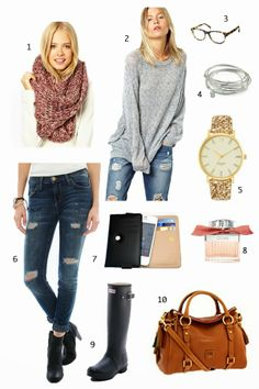grey and brown outfit
