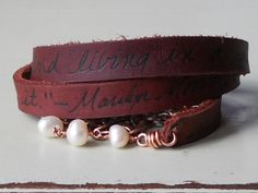 Quoted Marilyn Monroe pearl and leather wrap