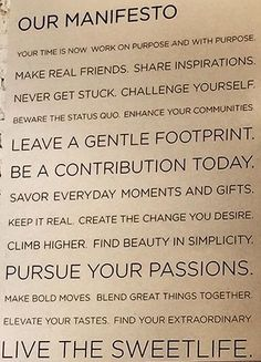 Ways to live by.