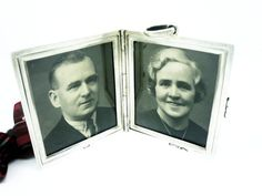 Antique Silver Double Photograph Frame Sterling by DartSilverLtd