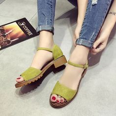 [£ Women's PU Low Heel Sandals With Buckle shoes - VeryVoga Low Heel Sandals, Low Heels, Women's Shoes Sandals, Women Sandals, Shoes Women, Ladies Shoes, Shoes Sneakers, Floral Sandals, How To Make Shoes