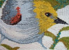 "Lyn Hart, ""desert birds postcard series - verdin"" x Tapestry Loom, Small Tapestry, Bayeux Tapestry, Weaving Textiles, Weaving Art, Loom Weaving, Hand Weaving, Contemporary Tapestries, Cotton Silk Fabric"