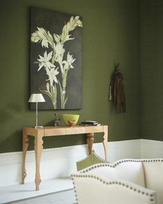 Olive colour for living room wall