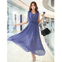 TS- False Two Pieces Chiffon  Maxi Dress