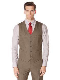 1940s Men's Fashion Clothing Styles Perry Ellis Subtle Pattern Twill Suit Vest $69.50 AT vintagedancer.com