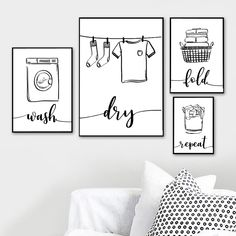 Wall Art Print Canvas Painting Nordic Poster Wash Dry Fold Repeat Laundry Sign Black White Pictures Bathroom Home Decor Modular Black And White Wall Art, Black And White Pictures, Black White, Wall Art Prints, Canvas Prints, Kitchen Art Prints, Buy Prints, Laundry Signs, Cheap Paintings