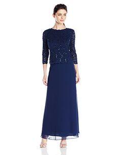 Alex Evenings Women's Petite Long Mock Dress with Sequin Lace Bodice, Navy, 14 Petite Alex Evenings http://www.amazon.com/dp/B00RVLOXKE/ref=cm_sw_r_pi_dp_2HM1wb0D4SXMN