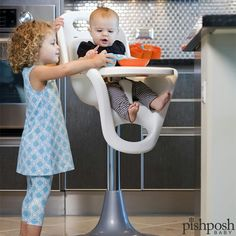 Don't like spending time scrubbing those hard to reach places in your high chair? The Flair Pedestal high chair by @booninc has a seamless seat, so it's REALLY easy to clean. Plus, the base wheels and adjustable height allow baby to be pushed directly to the table and be part of family meals. Neat-o!  http://www.pishposhbaby.com/boon.html