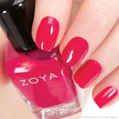 Zoya Nail Polish in Kimber Very pretty pinkish red for Valentine's Day. Types Of Nail Polish, Cute Nail Polish, Zoya Nail Polish, Types Of Nails, Nail Polish Colors, Cute Nails, Pretty Nails, Nail Polishes, Red Nails
