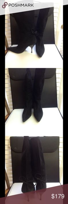 Miu Miu Black Suede Boots Size 37.5 Stunning Miu Miu super soft suede mid calf boot with lace back size 7.5 (37.5). Beautiful condition, slip on stretch, classic style, low price. Miu Miu Shoes Ankle Boots & Booties