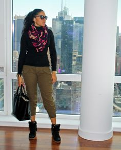 BP Turtleneck; Cargo Pants c/o Shoxie; Isabel Marant Sneakers; Zara Purse; Deena & Ozzy scarf; Bracelets: Hermes and Made; Michael Kors Watch; Damsel Sunnies | StilettoEsq