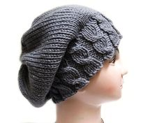 Knitting pattern hat slouchy beanie. Knit pattern in PDF file. Base knowledge in knitting is necessary. Knowledge of casting on, knit stitch and purl