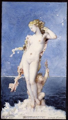 "Aphrodite, 1871, by Gustave Moreau (1826–1898). Watercolour with white gouache, 24.4 x 14.7 cm (9.61 x 5.79"")"