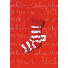 Warm anziehen! Also Schal, Mütze, Pulli und warme Socken nicht vergessen! Quasi zur Erinnerung gibt es diese süße Strick-Karte. Rot-weiße Weihnachtsgrüße aus der Winterklamottenkiste. Pull your socks up! Don't forget scarf, cap, sweater and warm socks! Therefore the cute knit-card will remind you. Red and white Christmas regards!