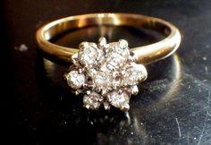 Antique Diamond Engagement Ring,10k Gold, Cluster Diamonds, Stacking, Promise Ring,Diamond Cluster via Etsy