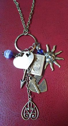 Antiqued brass charm pendant  one-of-a-kind by Love2BeadbyCindy