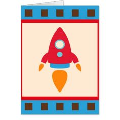 Cute Space Ship Rocket Outer Space Red Blue Greeting Card