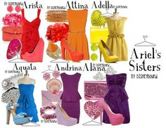 Ariels sisters inspired outfit by Disney Bound Disneybound Outfits, Disney Outfits, Cute Outfits, Disney Clothes, Girl Outfits, Little Mermaid Wedding, The Little Mermaid, Ariels Sisters, Disney Inspired Fashion