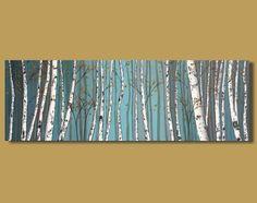 peinture abstraite de bouleaux peinture par SageMountainStudio