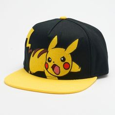 Men's Pokémon Embroidered Pikachu Snapback Cap ($24) ❤ liked on Polyvore featuring men's fashion, men's accessories, men's hats, black, mens snapbacks, mens caps, mens hats and mens snapback hats