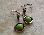 """Items similar to Earrings. Copper. Wire Wrapped. Dangle. Rustic Finish. Metalwork. Beaded. Made To Order / """"Circle of Green"""" on Etsy"""