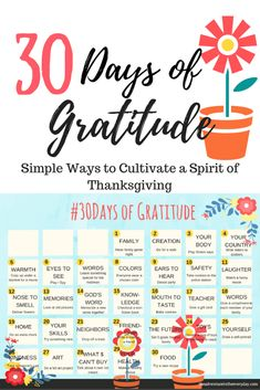 30 Days of Gratitude: Simple Ways to Cultivate a Spirit of Thanksgiving. Fun Thanksgiving activities for the whole family!