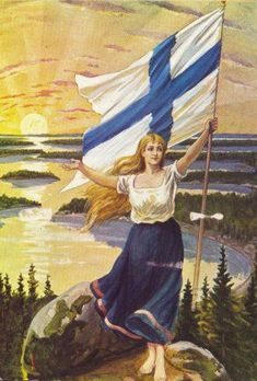 of December in the midst of the October Revolution in Russia, Finland carves itself out of the chaos and declares independence. The Finnish Maiden by an unknown artist, 1906 Helsinki, Meanwhile In Finland, Finland Travel, Map Pictures, Scandinavian Countries, Airbrush Art, Up Girl, All Art, Vintage Posters