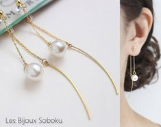 Threader Clip On,Non Pierced Earrings,Front Back Clip On,Gold Chain Clip On,Double Sided Clip On,Dangle Pearl Clip On,Dainty Threader Clip http://etsy.me/2BM5LNw