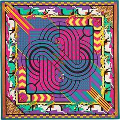 "2015 S/S | Steeple Chase | Silk twill scarf, hand rolled, 36"" x 36"" | Designed by Virginie Jamin | Ref. : H002918S 12 Vert/Rose/Jaune | $450.00"