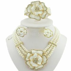 rose flower jewelry african big jewelry sets women necklace bead jewelry sets  wedding necklace high quality free shipping