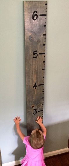 Children's Growth Chart Wood Ruler Wall Decor by CopperlineCo