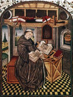 É preciso estudar, e é exatamente o que estou fazendo nesse momento. Abaixo um monge copia um manuscrito no scriptorium de um mosteiro, em obras de arte a partir de um livro francês do século 14. Autor desconhecido. A pesquisar.