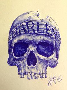 skull / harley / dessin / sketch / drawing / croquis / ballpen / art