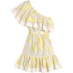 Rebecca Taylor Ella Fil Coupe One Shoulder Dress (£225) ❤ liked on Polyvore featuring dresses, lemon, white cocktail party dresses, white cotton dress, holiday party dresses, ruffle dress and cocktail party dress