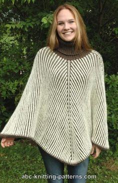 Free Knitting Pattern for Reversible Brioche Poncho - Stunning turtleneck poncho by ABC Knitting Patterns. SIZE: S/M, L/XL, 2X/3X