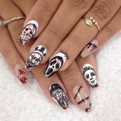 55 Scary Halloween Nail Art Design Ideas For The Coming Halloween - Page 5 of 55 - Nail Fashion - halloween nails Holloween Nails, Cute Halloween Nails, Halloween Acrylic Nails, Halloween Nail Designs, Scary Halloween, Halloween Ideas, Skull Nail Designs, Cute Nail Designs, Acrylic Nail Designs