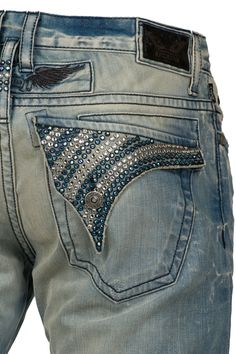 Robin's Jean Clear Crystals & Sapphire Swarovski Long Flap 4D Light Denim