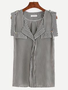 Black White Vertical Striped Sleeveless Blouse.