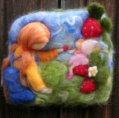Needle Felted Sculptural Wool Painting Fresh Strawberries bas wmRelief2 | Flickr - Photo Sharing!