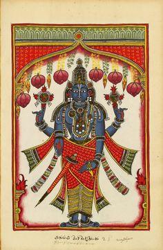 "Vishnu Venkateshvara. ""Indian Deities,"" two albums, 195 illus. S.Andhra Pradesh (north of Madras), bordering Karnataka, c.1720-1730. Venkateswara is the God (Iswara) of Venkata mountain, whose cult is celebrated at Tirumala, Andhra Pradesh. The peculiarity of this representation is in hand gestures."