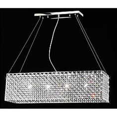 @Overstock - Glittering crystals adorn this unique chandelier. This 4-light fixture will add a contemporary touch to your home decor.http://www.overstock.com/Home-Garden/Chrome-Crystal-4-light-Rectangular-Adjustable-height-Chandelier/4737576/product.html?CID=214117 $215.99