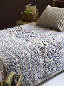 Make this Magnolia Afghan and add a feminine touch to any room of your house. This free crochet afghan pattern is made using Lion Brand Homespun yarn in any color of your choice. Floral motifs make this crocheted blanket a perfect pattern for spring. Crochet Afghans, Motifs Afghans, Afghan Crochet Patterns, Crochet Blankets, Crocheting Patterns, Crochet Stitches, Crochet Bedspread Pattern, Baby Afghans, Knitting Patterns