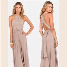 Taupe infinity maxi dress/convertible wrap Material:stretch jersey not spandex * size: medium (4-6) *bust: 34 waist: 27-28 * fabric stretches 1.5 inches length: 38 (2 colors available: coral and taupe* strap panels:65 inches long* tube included Dresses Maxi
