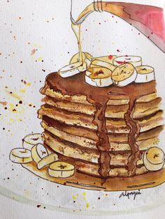 Pancakes Watercolor by Alpaqui
