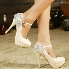 Sexy Women's Glitter Lace Round Toe High Heel Platform Wedding Shoes