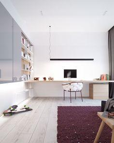 Modern Stylish Apartment Interior Design In A Simplicity - RooHome Kids Room Design, Home Design, Design Ideas, Interior Minimalista, Black And White Interior, Apartment Interior Design, Decoration, Interior Architecture, Designer