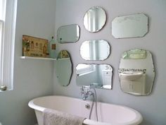 mirror display for on the landing wall as you go down the stairs. How to hang frameless mirror display wall Vintage Bathroom Mirrors, Diy Vanity Mirror, Rustic Wall Mirrors, Bathroom Wall, Framed Mirrors, Antique Mirrors, Bathroom Ideas, Small Bathroom, Mirror Mirror