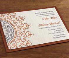 Illustrative Indian wedding invites in a blue and orange colour palette. Love.