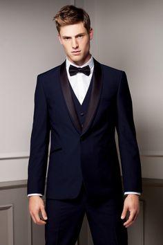 New Arrival blue tuxedos for men wedding suits men suits groom wedding suits groomsmen suits (Jacket+Pants+Vest+Bow) Navy Blue Groomsmen, Groomsmen Suits, Groom Attire, Mens Suits, Groom Wear, Groom Dress, Tuxedo Wedding, Wedding Men, Wedding Suits