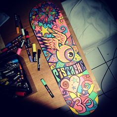 hand painted skateboard by Pistache for California Soul event at the Royal Academy of Arts #surf #skate# 70s #california #psychedelic #posca #art #graffiti #streetart